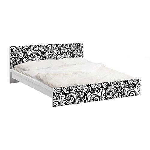 Apalis 93548 Möbelfolie für IKEA Malm Bett niedrig 140x200 cm - Black and White Leaves Pattern, größe 77 x 157 cm