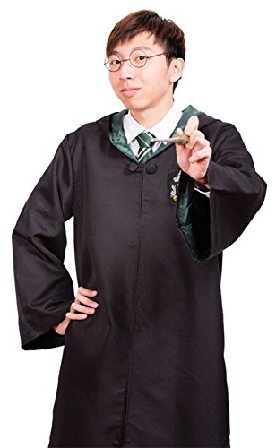 Harry Potter Adult Robe Cloak Costume Cospaly Fancy Dress Slytherin M -