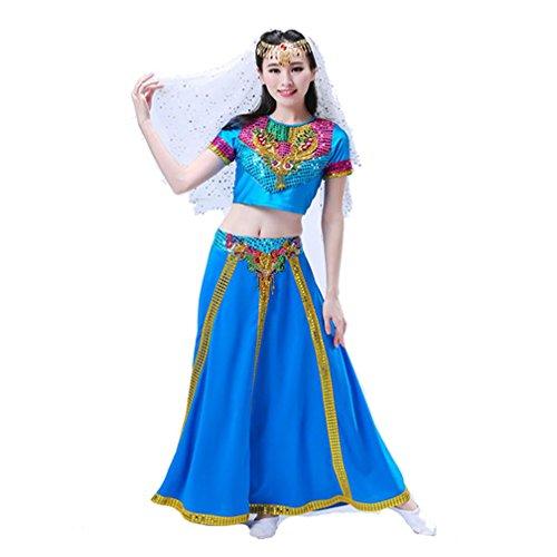 Womens Dancewea Profi Bauch Set Sequin Tanz Rock Bauchtanz Halloween Karneval Kost¨¹m Farbig Schleier + KopfChain + Top + Hose , Blue , xxxl
