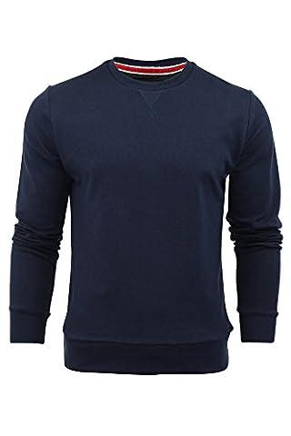 Brave Soul Mens Jonesk Crew Neck Sweatshirt Jumper Dark Navy - Medium