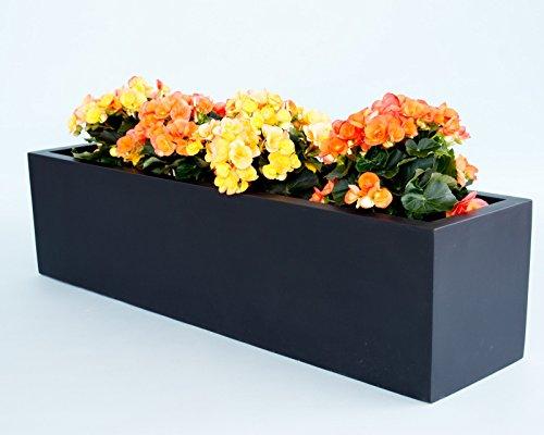Pflanztrog Blumentrog Fiberglas 100x25x25cm elegant schwarz-matt