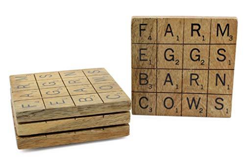 SAM+ OLLIE Holzuntersetzer - Set von 4 Holzuntersetzern mit Scrabble-Buchstaben, Bauernhaus-Untersetzer,