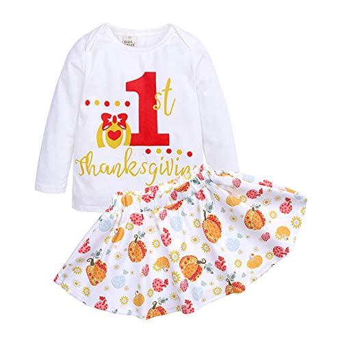 LIAOMNKJ Kleines Kleinkind-Mädchen-Erntedank-Kostüm-langes Hülsen-Blumen-Tutu 1-4 T Size 110 (White)