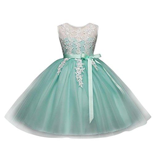 Solike Maedchen Prinzessin Kleid Blumenmaedchen Taft und Spitze Kleid Kinder Maedchen Kleid festlich Party Kleid Festzug Hochzeit (130CM, Minzgrün) (Taft Kleider Brautjungfer)