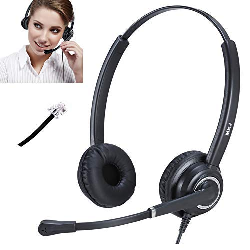 Kabelgebundenes Headset mit Geräuschunterdrückung und Mikrofon für Plantronics Altigen Fanvil Polycom Nortel Audiocodes Gigaset Avaya Mitel 3Com etc. 5020 Ip Phone