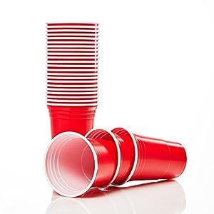 Lumaland Partybecher 50 oder 100 Stück 16 oz Trinkbecher als Party Set extra Starke Plastikbecher in rot (100 Stück + 6…