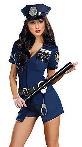 MARRYME Damen Uniform Kostüme Kleid Polizei V-Ausschnitt für Mottoparty Halloween Karneval Fasching (Form2, Brust 88-100cm) (Frau Kostüm Police Officer)