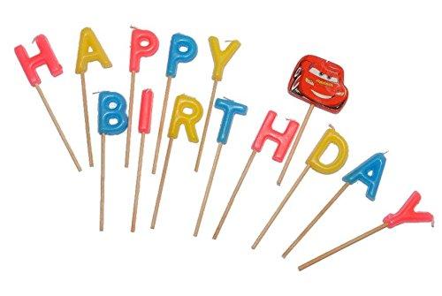 alles-meine.de GmbH 14 Stück - Mini Kerzen -  Disney Cars - Happy Birthday  - Kind Steckkerzen Geburtstagskerzen - Kuchenkerzen / Aufsteckkerzen - Lightning Auto Küche Queen