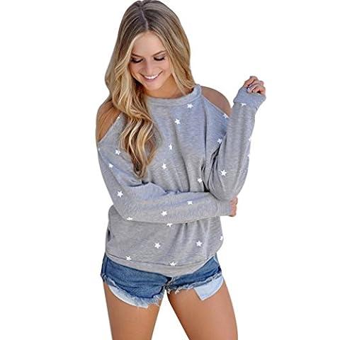 Goodsatar T-Shirt Blouse Bretelles Manches Longues Epaule Dénudée Chic Sexy Top Casual Printemps Sweat-shirt (S, Gris)