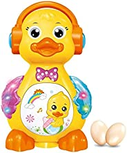 Popsugar - TH0619 Funny Duck Laying Eggs Musical Toy with Lights , Yellow