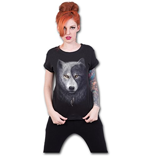 Spiral Wolf Chi T - Shirt Top Wolff Dog Animal Gothic (Cap Boatneck)