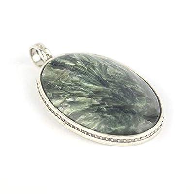 Pendentif de Argent 925 et Séraphinite ovale vert et blanc 27x18x5 mm