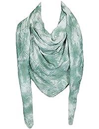 Mevina Damen XXL Schal Glitzer Stern Glitzersteine groß quadratisch Batik Retro Vintage Tuch Schal Halstuch groß Oversized Premium Qualität