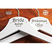 Personalised Hearts Bridal Wedding Hanger in White - Hanger Engraved Wedding Gift Bride, Bridesmaids and more.