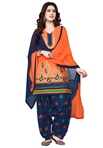 Salwar Studio Women\'s Orange & Navy Blue Cotton Floral, Paisley Embroidered Unstitched Patiala Suit