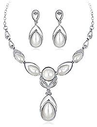 8247de1cf2ee Scrox 2pcs Boda Juego de Joyas Mujeres Temperamento Novia Joyería Conjunto  Exquisito Rhinestone Perla Colgante Collar Moda…