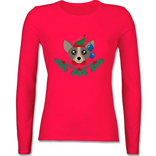 Weihnachten & Silvester - Chihuahua Weihnachts-Elfe - tailliertes Longsleeve / langärmeliges T-Shirt für Damen Rot