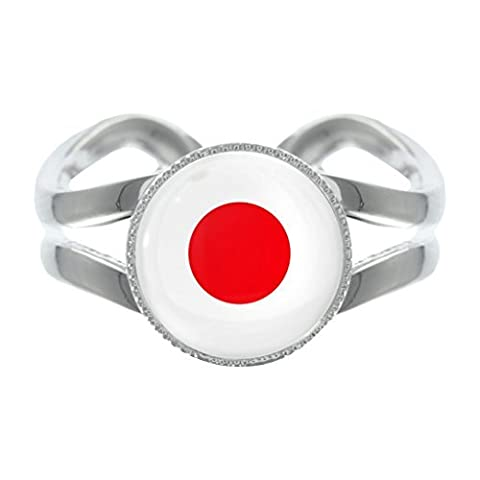 Flag of Japan Silver Plated Adjustable Ring