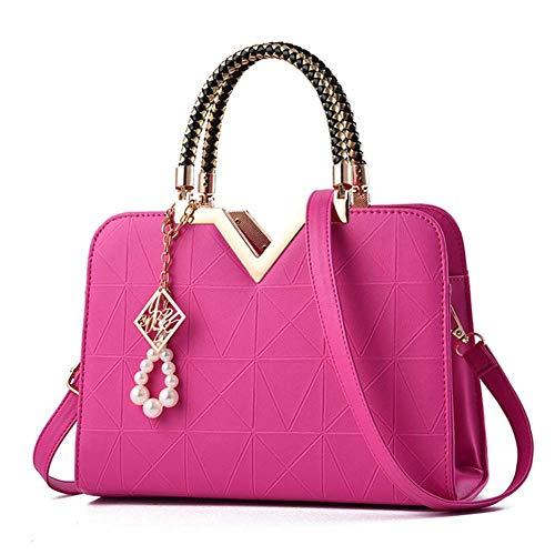 hsy Umhängetasche Damen Muster Reine Farbe Mode Freizeit große Kapazität Handtasche (Color : Rose red) -