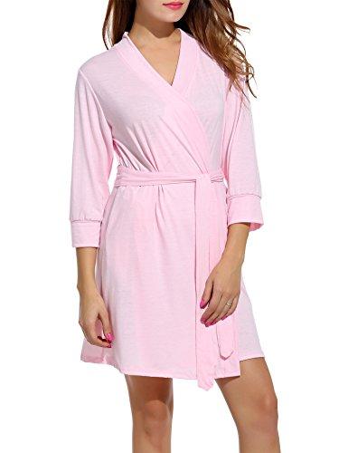 Preisvergleich Produktbild HOTOUCH Damen Morgenmantel Bademantel Nachtwäsche Kimono Saunamantel Mit Tiefer V-Ausschnitt Schlafanzug Aus Baumwolle