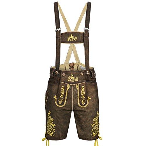 kurze Lederhose in Braun von Gweih & Silk, Größe:58;Farbe:Braun