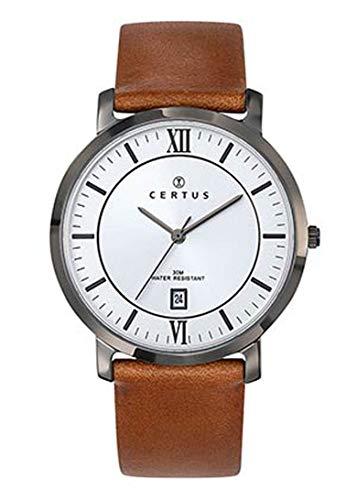 Certus–Reloj Hombre–h611m073–Piel marrón–Caja Acero Gris–Reloj Color Blanco–Date