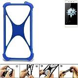 K-S-Trade Bumper für Hisense C1 Silikon Schutz Hülle Handyhülle Silikoncase Softcase Cover Case Stoßschutz, blau (1x)