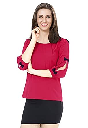 Ishin Rayon Red Party Wear Casual Wear Bollywood Solid New Collection Latest Design Women's Western Wear Top