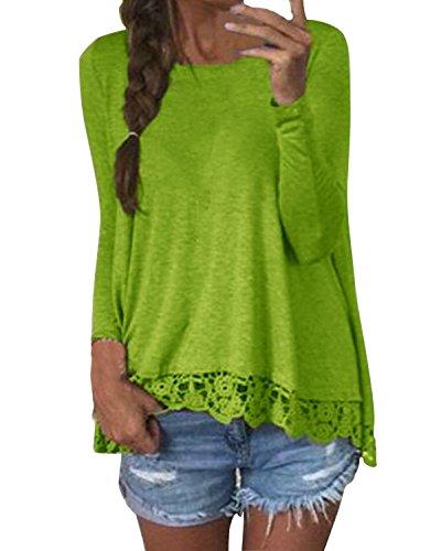 ZANZEA Camicetta Blusa Manica Lunga Casual Pizzo Elegante Cotone Sexy Ufficio Girocollo T-shirt Maliga per (T-shirt Manica Lunga Camicia Verde)