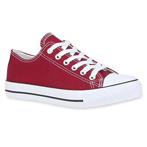 Damen Sneakers Sportschuhe Freizeit Schuhe Schnürer Dunkelrot