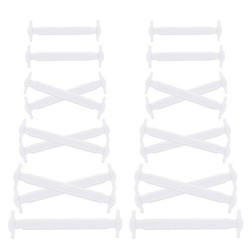 Joyshare No Tie Lacci per Scarpe per Bambini e Adulti - Impermeabile in Silicone Elastico Piatto Laces Athletic Scarpa da Corsa Scarpe Sneakerboots Bordo e Scarpe Casual (White)