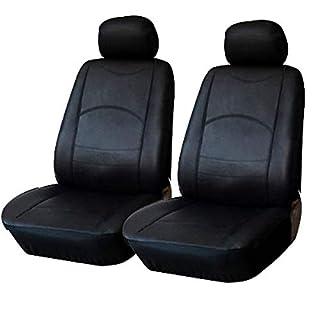 eSituro SCSC0047 2er Einzelsitzbezug universal Sitzbezüge für Auto Schonbezug Schoner aus Kunstleder schwarz