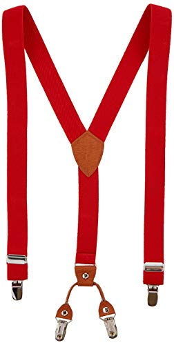 Kinder Klammern Clip auf Hosenträger - Getreide Leder Elastisch Einstellbar Mit 4 Clips Y Form Hosenträger(Rot) (Rote Hosenträger Baby)