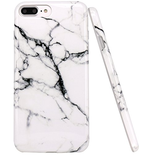 Jiaxiufen cover iphone 8 plus, tpu gel silicone protettivo custodia case cover per apple iphone 7 plus/iphone 8 plus- acquerello bianco marmo design