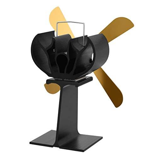 Busirde Kamine 4 Blatt Herd Fan Quiet Hitze Powered Holz/Holzofen Eco Friendly Wärmezirkulation Fan Gold 217 * 194mm -