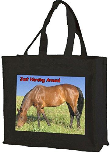 Horsing intorno, Horse Bay-Borsa per la spesa, in cotone (nero)
