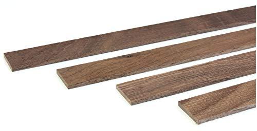 wodewa Holzleiste Wandleiste Nussbaum Strukturiert Geölt 1m Abschlussleiste Holz 30x4mm Zierleiste für Wandverkleidung Decke Boden Abdeckleiste DIY Basteln