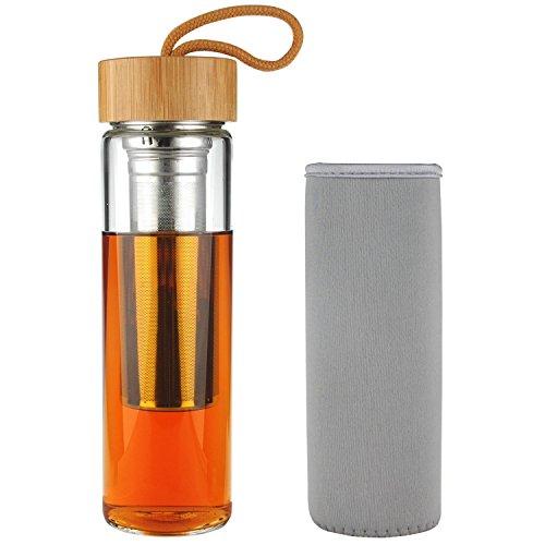 SHBRIFA Teebereiter Borosilikat Tee Trinkflasche Glas mit Bambusdeckel 500 ml