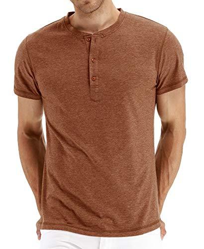 Einfarbiges Rundhals-T-Shirt für Herren mit V-AusschnittHerren Kurzarm T-Shirt Brick Red XXL
