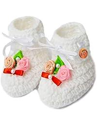 LOVE CROCHET ART Unisex-Baby's White Bootie -6-12 Months