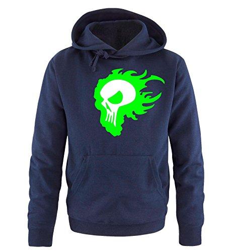 Comedy Shirts - FLAME SKULL - Uomo Hoodie cappuccio sweater - taglia S-XXL different colors blu navy / bianco-neon verde