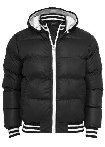 Urban Classics Jacke Hooded College Bubble Jacket, schwarz TB431, L (Herren Bubble Jacket Hooded)