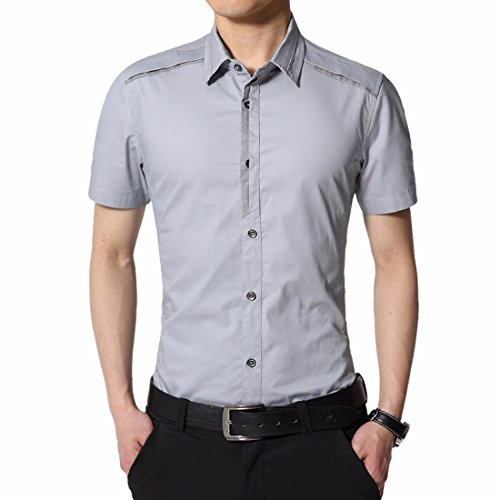 Men's Turn down Collar Short Sleeves Shirts Light Gray