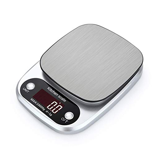 5 Peso de la cocina Escala digital Portátil Acero inoxidable Pantalla LCD Escala de alimentos Exactamente 10 kg x 1 g ()
