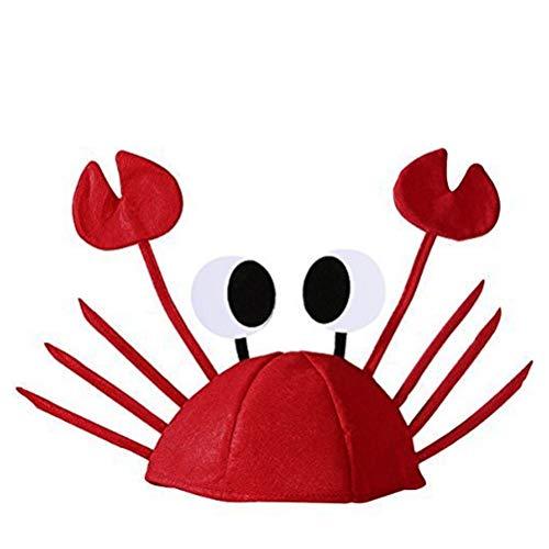 Krabbe Baby Kostüm - Ishua Krabben-Hut-Kappen-justierbares Kostüm-fantastischer Hut-Party-Dekoration-lustige Partyhüte für Kind oder Erwachsener