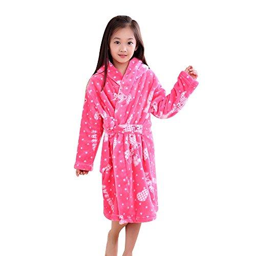 Pannnow enfants garçons filles Polaire Robe de chambre doux Peignoir de bain Lounge Pyjama Long Peignoir de bain, Ours rose