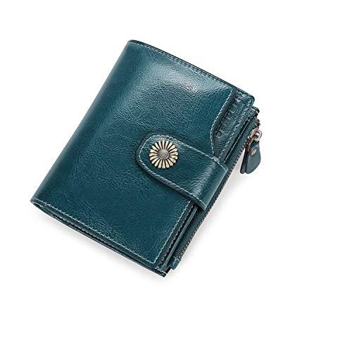 Portefeuille pour Femmes en Cuir Cire de Luxe Porte Monnaie avec Protection RFID Sac à Main en Dames Multi-Carte Bit Zipper,Bleu