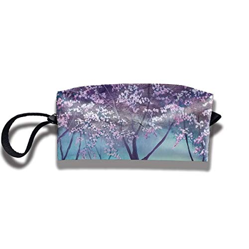 Fabric Cosmetic Bags Travel Makeup Case Cherry Blossoms Painting Art Unique Lazy Organizer Multi-Functional Storage Bags Wallace Blossom