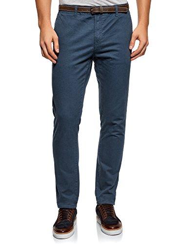 oodji Ultra Hombre Pantalones Chinos con Cinturón, Azul, ES 46 (L)