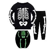 Halloween Disfraces niños niñas Pijamas Pijamas Manga Larga algodón niño Ropa Traje Dos Set - Juego de 2 años Set (Resplandor en el Oscuros Esqueletos Huesos)